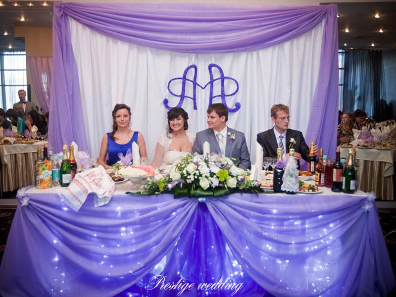 Украшение зала на свадьбу в сиреневом цвете