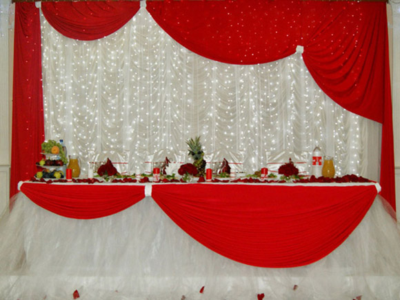 Украшения зала на свадьбу своими руками в красном цвете 44