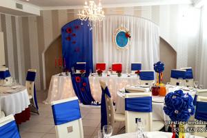 Оформление зала на свадьбу в синем цвете