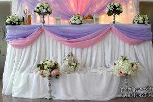 Оформление стола молодоженов сиреневым цветом