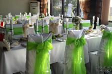 Зал ресторана в зелёном цвете