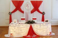 """Оформление ресторана """"Меркурий"""" на свадьбу в красном цвете"""