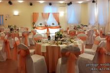 Оформление свадебного зала персиковым цветом